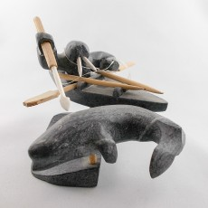 Soapstone sculpture of walrus & beluga whale