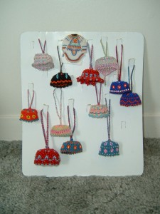 Miniature beaded hats and pins