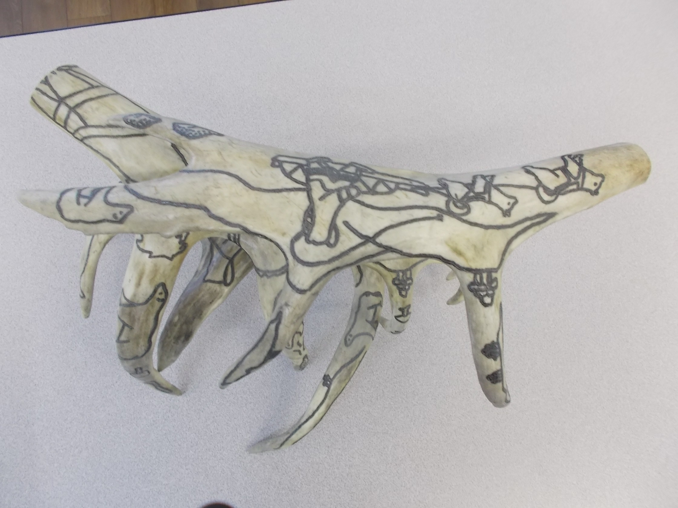 Caribou antler sculpture