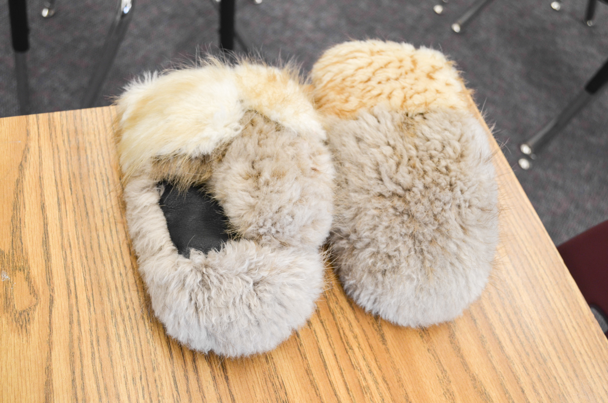 Wolf fur mitts